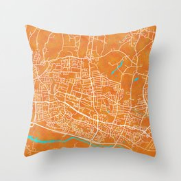 Slough, England, Gold, Blue, City, Map Throw Pillow