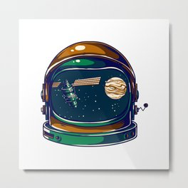 Astronaut Helmet - Satellite and the Moon Metal Print