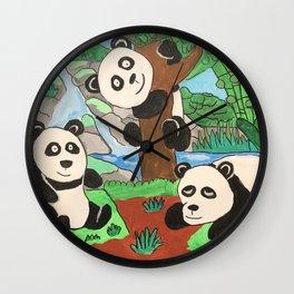 Playful Pandas Wall Clock