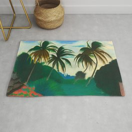 Tropical Scene with Palms and Flowers by Joseph Stella Rug