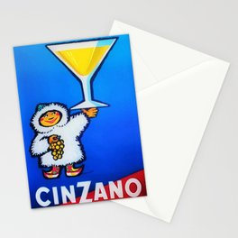 1950 Cinzano Vermouth Bianco Vintage Advertising Poster Stationery Cards