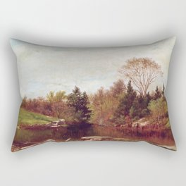 Spring A Study On The Bronx At Mt Vernon 1873 By David Johnson | Reproduction | Romanticism Landscap Rectangular Pillow