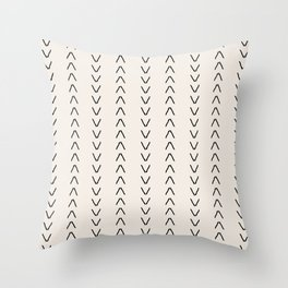Mudcloth Arrows Beige Throw Pillow