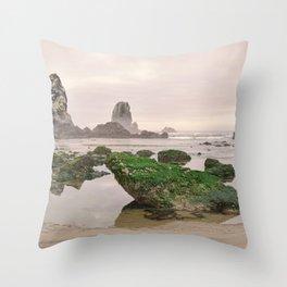 Haystack Rock Needles Cannon Beach Seastack Tidal Rocks Marine Garden Oregon Coast Northwest Throw Pillow