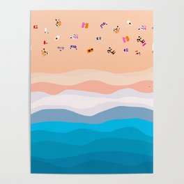 Beach Day | Aerial Illustration Poster