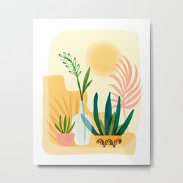 Sunshine Terrace - landscape illustration Metal Print