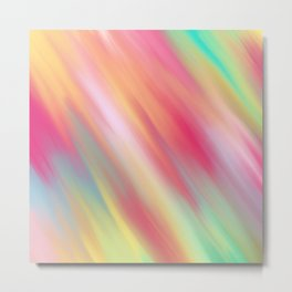Artsy Neon Pink Yellow Abstract Modern Brushstroke Metal Print