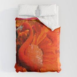 ART DECO  Saffron Flamingo Orange  Fuchsia Fantasy Painting Comforters