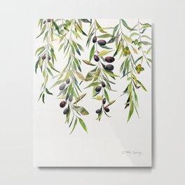 Olive Branch Watercolor  Metal Print