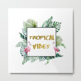 Aloha - Tropical Vibes Typography with Palm Leaves and Flamingo Metal Print