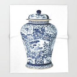 Blue & White Chinoiserie Cranes Porcelain Ginger Jar Throw Blanket