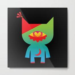 Party Cat - RED Metal Print