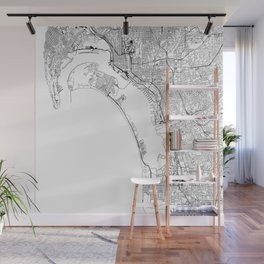 San Diego White Map Wall Mural