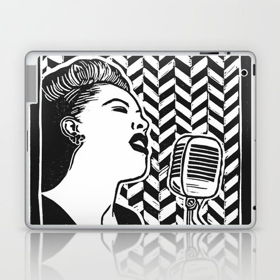 Lady Day (Billie Holiday block print blk) by beegreen