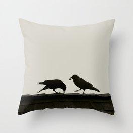 Two Crows on a Rooftop - Graphic Birds Series, Plain - Modern Home Decor Throw Pillow