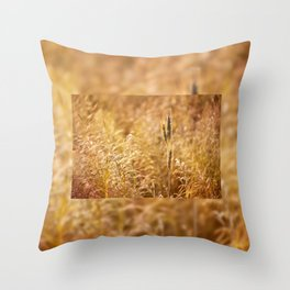 Golden cereal plant photo Throw Pillow