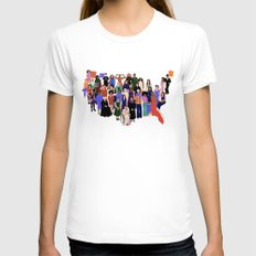 Women's March White SMALL Womens Fitted Tee