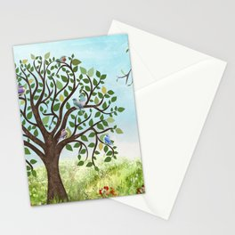 Little Song Birds in a Lovely Tree Stationery Cards
