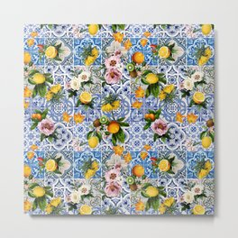 Sicilian dolce vita lemon and flowers tiles pattern Metal Print