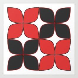 Mid-Century Modern Art - Flower Pattern Black Red Art Print