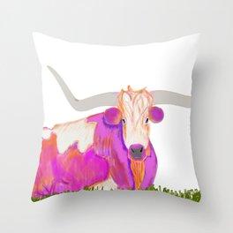 Pink Longhorn Throw Pillow
