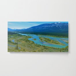 Looking over the Athabasca River on the east end of Jasper National Park, Canada Metal Print