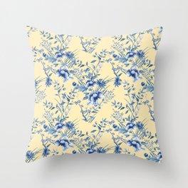 Chinoiserie Flowers Blue on Lemon Honey Creme Throw Pillow
