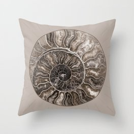 Fossil Ammonite Rock Wall Art for the Living Room; Cream Spiral Abstract Shell Circular Throw Pillow