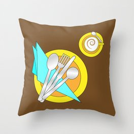 Modern table setting for one Throw Pillow