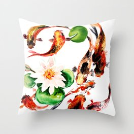 Koi Fish in Pond, Feng Shui Throw Pillow