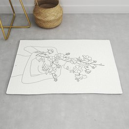 Minimal Line Art Woman with Wild Roses Rug