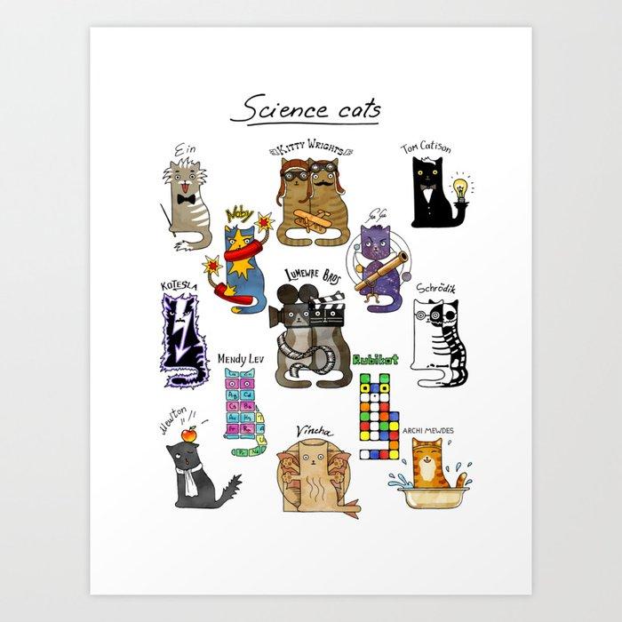 Science cats. History of great discoveries. Schrödinger cat, Einstein. Physics, chemistry etc Kunstdrucke