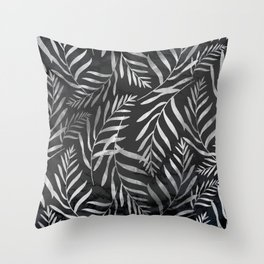 Silver Tropical Palm Leaves Ferns Trendy Black Marble II Throw Pillow