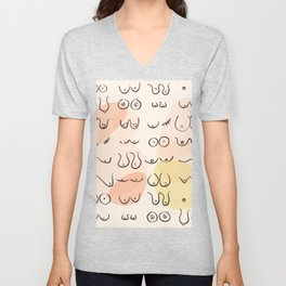 Modern Abstract All Boobies are Beautiful Unisex V-Neck