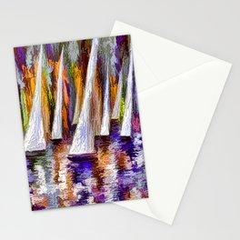 Sailboats Reflection at Sunset  Stationery Cards