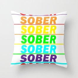 Rainbow Sober Throw Pillow