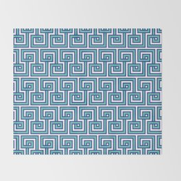 Greek Key - Turquoise Throw Blanket