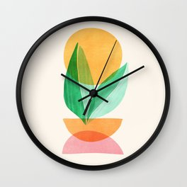 Summer Stack / Abstract Plant Illustration Wall Clock