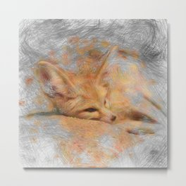 Artistic Animal Fennec Fox Metal Print