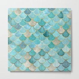 Moroccan Mermaid Fish Scale Pattern, Aqua,Teal Metal Print
