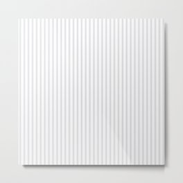 Soft Grey Mattress Ticking Narrow Striped Pattern - Fall Fashion 2018 Metal Print