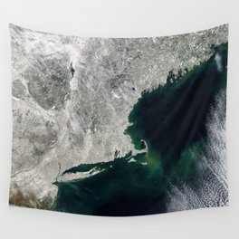 Winter Aerial View of New York, Long Island, Rhode Island, Cape Cod & New England Wall Tapestry