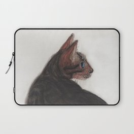 Dave the Bengal Cat, pastel, oil pastel, pencil, charcoal, by Candy Medusa, Black Dwarf Designs Laptop Sleeve
