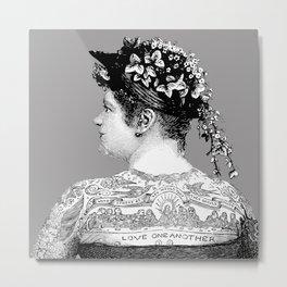 Tattooed Victorian Woman | Tattooed Woman | Vintage Tattoos | Victorian Tattoos | Victorian Gothic | Metal Print