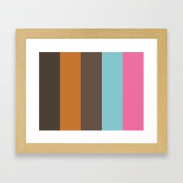 TOUCH : Taupe, Ochre, Umber, Cyan, Hot Pink. Framed Art Print