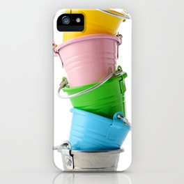 Colorful buckets, stacked vertically iPhone Case