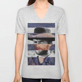 Van Gogh's Self Portrait & Clint Eastwood Unisex V-Neck