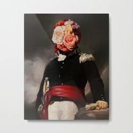 Floral Soldier Surreal Portrait Collage Metal Print