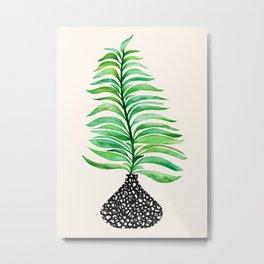 Tropical Leaf in Vase Metal Print