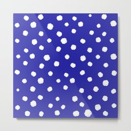 Hand-Drawn Dots (White & Navy Blue Pattern) Metal Print